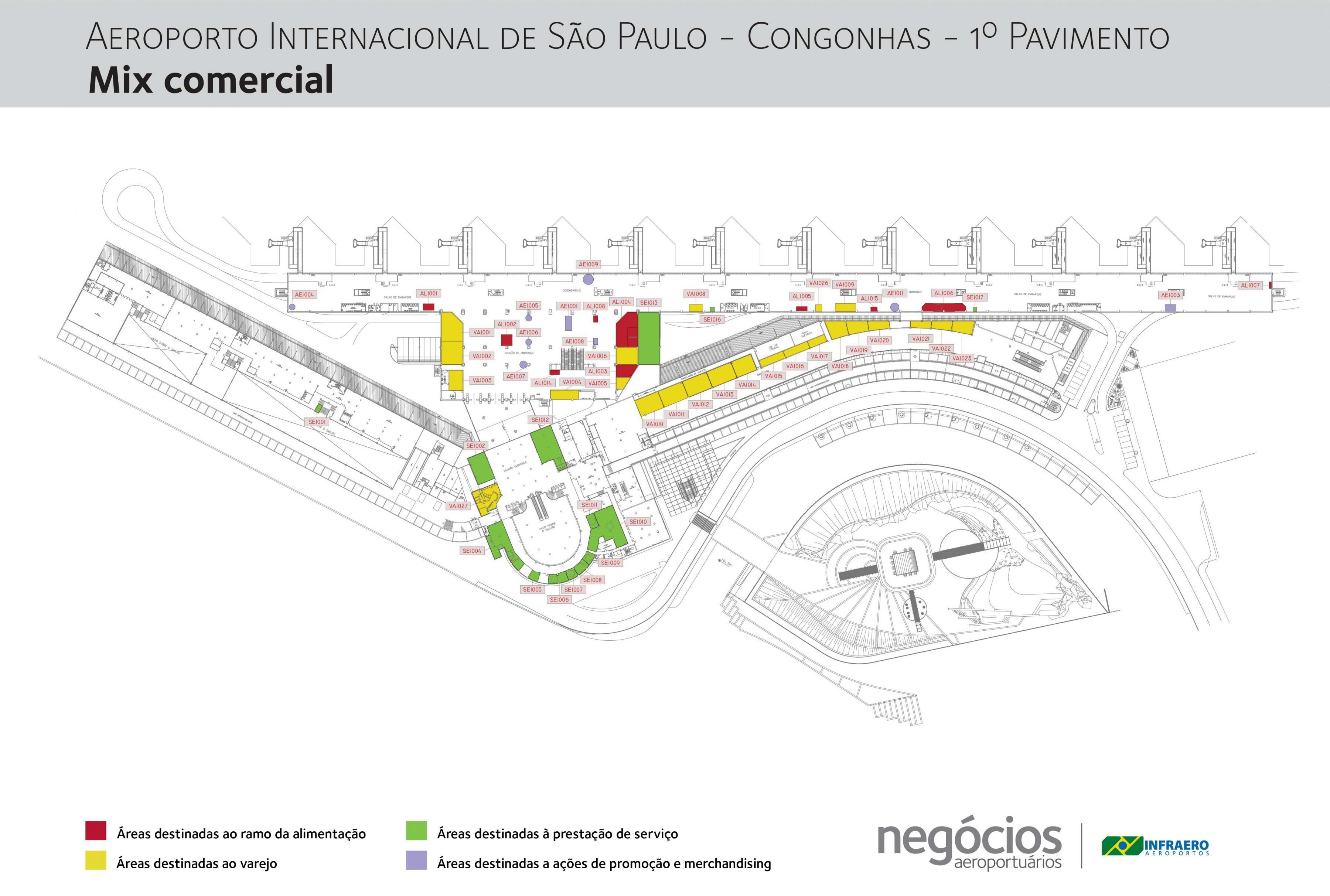 Aeroporto De Congonhas Piso 1 Mapa Mapa Do Aeroporto