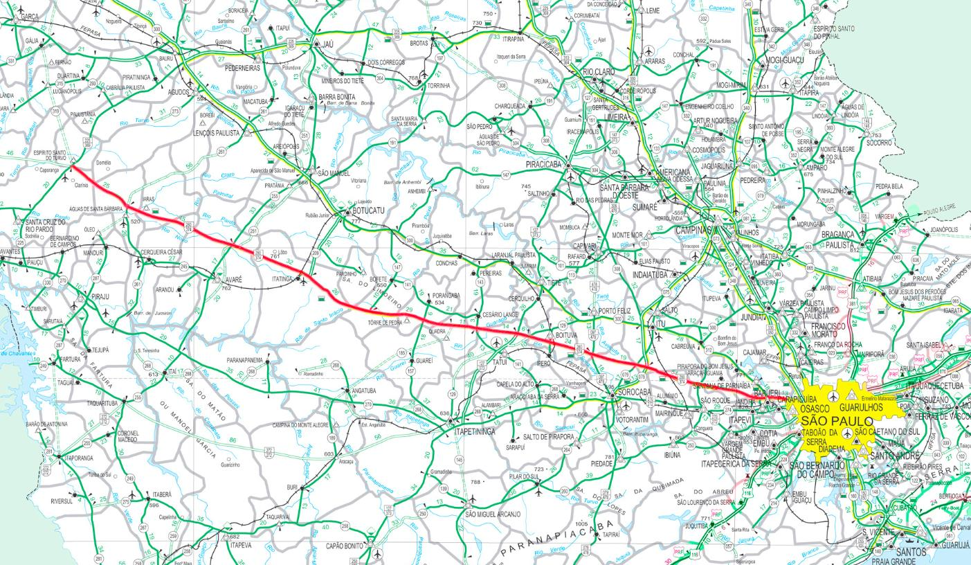 castelo branco mapa Rodovia Castelo Branco   SP 280 mapa   Mapa da rodovia Castelo  castelo branco mapa