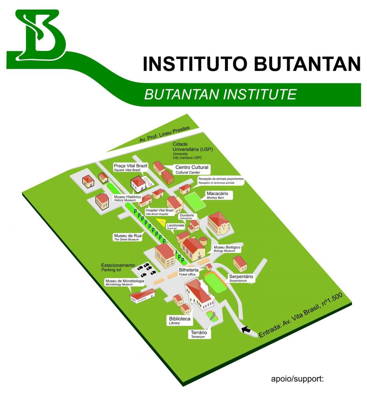 Mapa do instituto Butantan