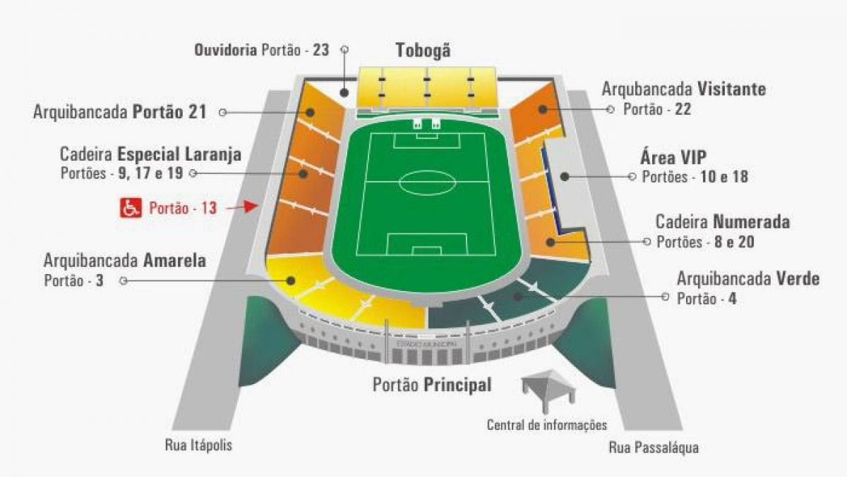 Mapa do estádio do Pacaembu