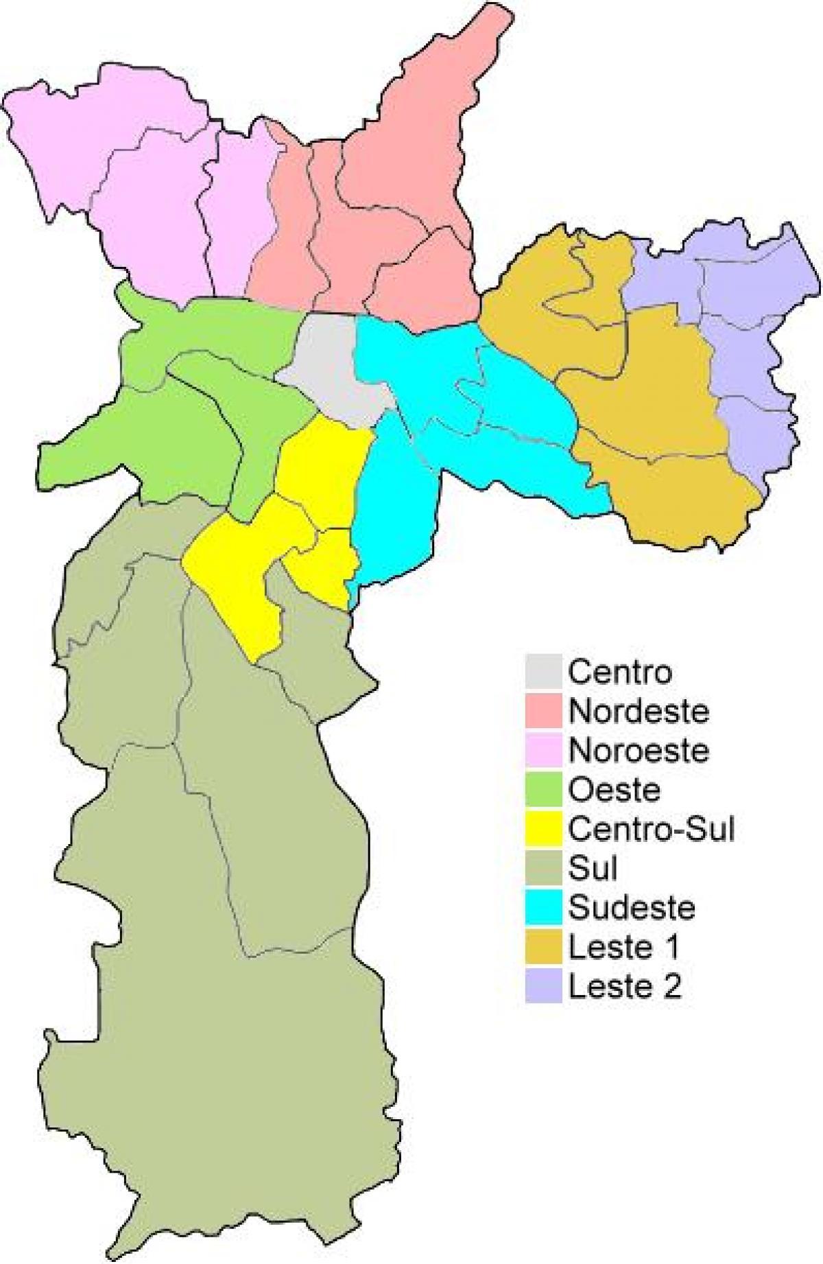 249ac3f00 Regiões administrativas de São Paulo mapa - Mapa das regiões ...