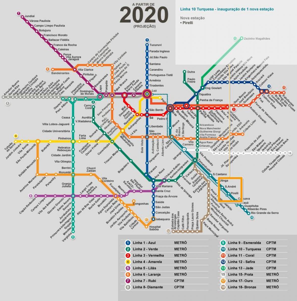 São Paulo rede de metro mapa - Mapa de São Paulo rede de metro ...